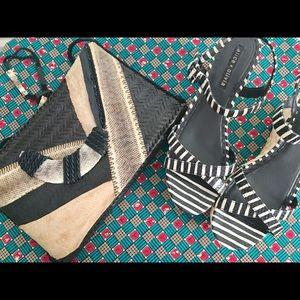 Vintage Black/Brown Rattan & Snakeskin Purse! 🐍